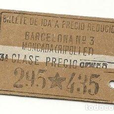 Coleccionismo Billetes de transporte: AX3. NORTE.BARCELONA-MONCADA RIPOLLET.AÑOS 20. Lote 183843818