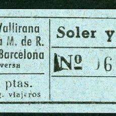 Collectionnisme Billets de transport: BILLETES DE SOLER Y SAURET // ORDAL, VALLIRANA, MOLINS DE REY, SAN FELIU, BARCELONA // T53. Lote 184676805