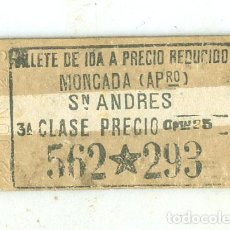 Coleccionismo Billetes de transporte: MONCADA SAN ANDRÉS. ANTIGUO BILLETE COMPAÑIA DEL FERROCARRIL DEL NORTE. USADO EN 1927. Lote 186075102