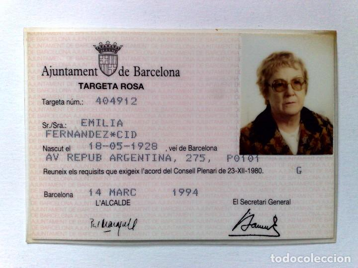 TARJETA ROSA DE TRANSPORTE PUBLICO,A FAVOR DE PERSONA NACIDA 1928 (EXP. 03/94) DESCRIPCIÓN (Coleccionismo - Billetes de Transporte)