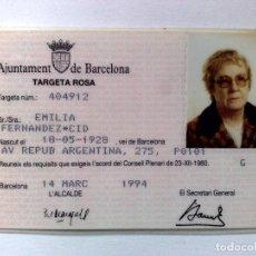 Coleccionismo Billetes de transporte: TARJETA ROSA DE TRANSPORTE PUBLICO,A FAVOR DE PERSONA NACIDA 1928 (EXP. 03/94) DESCRIPCIÓN. Lote 186401322