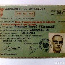 Coleccionismo Billetes de transporte: TARJETA DE LIBRE CIRCULACIÓN DE TRANSPORTE PUBLICO DE PERSONA NACIDO 1914 (EXP. 04/77) DESCRIPCIÓN. Lote 186401906