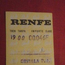 Coleccionismo Billetes de transporte: ANTIGUO BILLETE.RENFE.FERROCARRILES.SEVILLA-PEÑAFLOR.1972. Lote 187311237