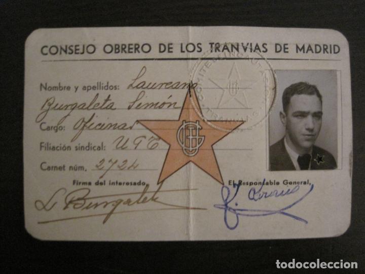 Coleccionismo Billetes de transporte: GUERRA CIVIL-CONSEJO OBRERO TRANVIAS DE MADRID-CARNET-COMITE DE INCAUTACION-VER FOTOS-(V-18.623) - Foto 2 - 187389108