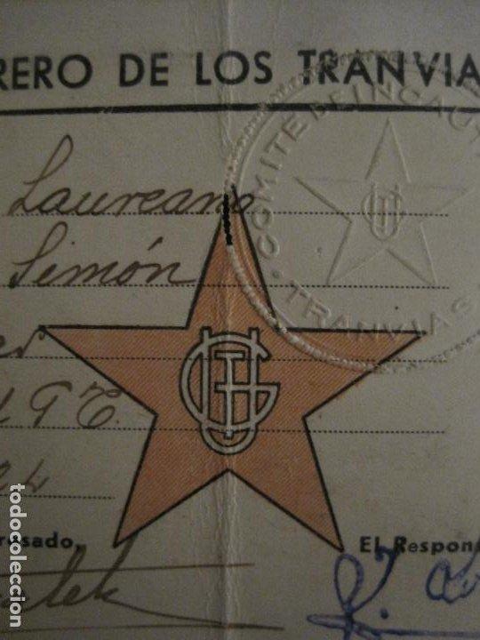 Coleccionismo Billetes de transporte: GUERRA CIVIL-CONSEJO OBRERO TRANVIAS DE MADRID-CARNET-COMITE DE INCAUTACION-VER FOTOS-(V-18.623) - Foto 3 - 187389108