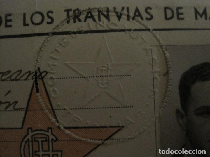 Coleccionismo Billetes de transporte: GUERRA CIVIL-CONSEJO OBRERO TRANVIAS DE MADRID-CARNET-COMITE DE INCAUTACION-VER FOTOS-(V-18.623) - Foto 6 - 187389108