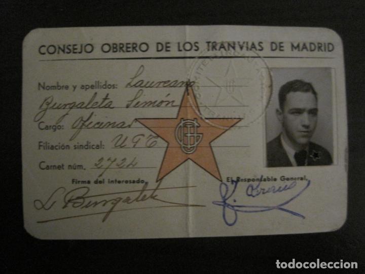 Coleccionismo Billetes de transporte: GUERRA CIVIL-CONSEJO OBRERO TRANVIAS DE MADRID-CARNET-COMITE DE INCAUTACION-VER FOTOS-(V-18.623) - Foto 7 - 187389108