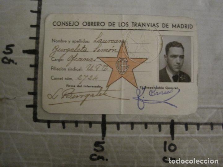 Coleccionismo Billetes de transporte: GUERRA CIVIL-CONSEJO OBRERO TRANVIAS DE MADRID-CARNET-COMITE DE INCAUTACION-VER FOTOS-(V-18.623) - Foto 8 - 187389108