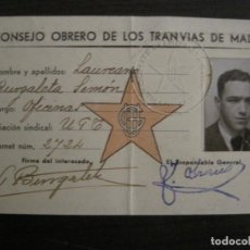 Coleccionismo Billetes de transporte: GUERRA CIVIL-CONSEJO OBRERO TRANVIAS DE MADRID-CARNET-COMITE DE INCAUTACION-VER FOTOS-(V-18.623). Lote 187389108
