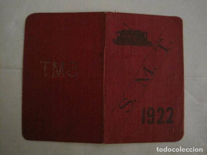 Coleccionismo Billetes de transporte: CARNET PASE DE SERVICIO TRANVIA S.M.T-AÑO 1922-VER FOTOS-(V-18.624) - Foto 2 - 187389188