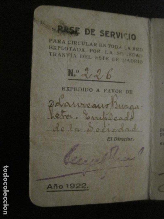 Coleccionismo Billetes de transporte: CARNET PASE DE SERVICIO TRANVIA S.M.T-AÑO 1922-VER FOTOS-(V-18.624) - Foto 6 - 187389188