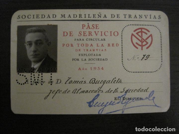 Coleccionismo Billetes de transporte: CARNET SOCIEDAD MADRILEÑA DE TRANVIAS SMT-PASE DE SERVICIO-AÑO 1934-MADRID-VER FOTOS-(V-18.66) - Foto 2 - 187389311