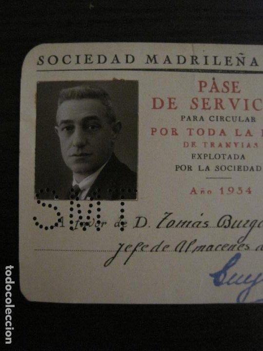 Coleccionismo Billetes de transporte: CARNET SOCIEDAD MADRILEÑA DE TRANVIAS SMT-PASE DE SERVICIO-AÑO 1934-MADRID-VER FOTOS-(V-18.66) - Foto 3 - 187389311
