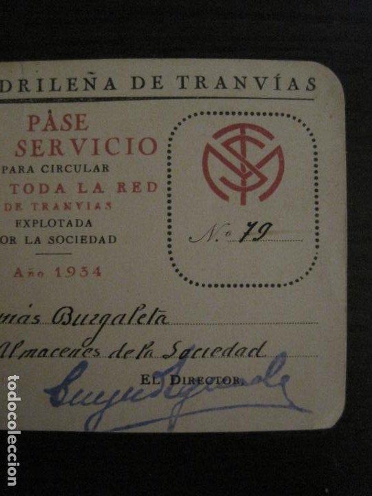 Coleccionismo Billetes de transporte: CARNET SOCIEDAD MADRILEÑA DE TRANVIAS SMT-PASE DE SERVICIO-AÑO 1934-MADRID-VER FOTOS-(V-18.66) - Foto 4 - 187389311