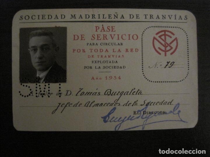 CARNET SOCIEDAD MADRILEÑA DE TRANVIAS SMT-PASE DE SERVICIO-AÑO 1934-MADRID-VER FOTOS-(V-18.66) (Coleccionismo - Billetes de Transporte)