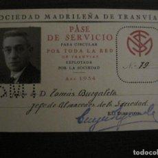Coleccionismo Billetes de transporte: CARNET SOCIEDAD MADRILEÑA DE TRANVIAS SMT-PASE DE SERVICIO-AÑO 1934-MADRID-VER FOTOS-(V-18.66). Lote 187389311