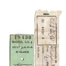 Coleccionismo Billetes de transporte: BILLETE DE TREN \ SEVILLA PLAZA DE ARMAS - MADRID ATOCHA \ ÓMNIBUS DE 2ª CLASE \ RENFE (03-10-1960) . Lote 188455386