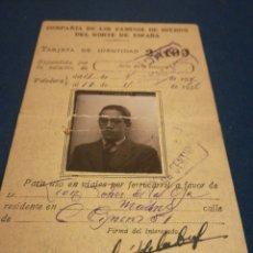 Coleccionismo Billetes de transporte: TARJETA DE IDENTIDAD DE LA COMPAÑÍA DE LOS CAMINOS DE HIERRO DEL NORTE DE ESPAÑA AÑOS 30. Lote 189382082