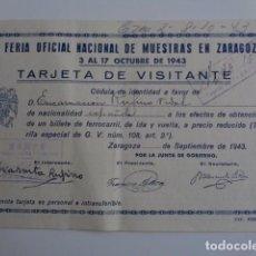 Coleccionismo Billetes de transporte: TARJETA PARA LA OBTENCIÓN DE BILLETE FERROCARRIL, III FERIA OFICIAL MUESTRAS DE ZARAGOZA. 1943.. Lote 189468800