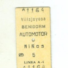 Collectionnisme Billets de transport: FERROCARRIL ALICANTE DENIA. ANTIGUO BILLETE VILLAJOYOSA BENIDORM AUTOMOTOR. . Lote 190647808