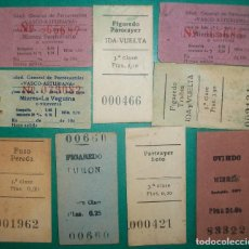 Collectionnisme Billets de transport: ASTURIAS. LOTE DE 9 BILLETES DEL FERROCARRIL VASCO-ASTURIANO: OVIEDO, MIERES, TURÓN, FIGAREDO ...... Lote 191270638