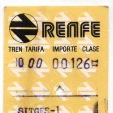 Collectionnisme Billets de transport: RENFE SITGES BARCELONA 1984. Lote 191342341