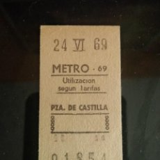 Collectionnisme Billets de transport: BILLETE METRO 1969 PZA CASTILLA MADRID. Lote 191437677