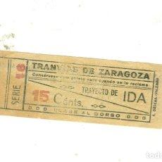 Collectionnisme Billets de transport: TRANVIAS ZARAGOZA. ANTIGUO BILLETE CAPICUA. Lote 191542731