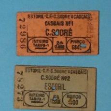 Coleccionismo Billetes de transporte: LOTE DE TRES BILLETES DE TRANSPORTE TREN DE PORTUGAL ESTORIL C. SODRÉ. Lote 192836241