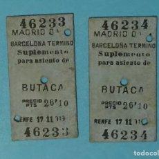 Coleccionismo Billetes de transporte: LOTE DE DOS BILLETES CORRELATIVOS Y ANTIGUOS DE TREN DE RENFE BUTACA MADRID BARCELONA AÑOS 1940-50. Lote 192836477