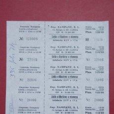 Coleccionismo Billetes de transporte: XAMPANY S.L. - HOJA CON 5 BILLETE DE AUTOBUS, BUS DE LLEIDA A ALBATARREC ...L627. Lote 193309073