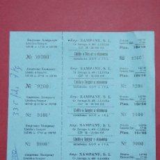 Coleccionismo Billetes de transporte: XAMPANY S.L. - HOJA CON 5 BILLETE DE AUTOBUS, BUS DE LLEIDA A SUNYER ...L628. Lote 193309195