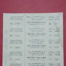 Coleccionismo Billetes de transporte: XAMPANY S.L. - HOJA CON 5 BILLETE DE AUTOBUS, BUS DE LLEIDA A TORRES DE SEGRE ...L629. Lote 193309326