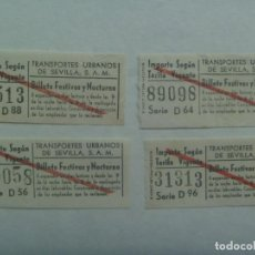 Coleccionismo Billetes de transporte: LOTE DE 4 BILLETES AUTOBUS DE TRANSPORTES URBANOS DE SEVILLA, FESTIVOS Y NOCTURNO. AÑOS 60. CAPICUAS. Lote 255366465