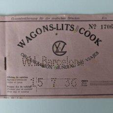 Coleccionismo Billetes de transporte: 15 DE JULIO DE 1936 - FERROCARRIL BILLETE DE WAGONS LITS COOK BILBAO-CASETAS-ZARAGOZA-BARCELONA. Lote 194131802