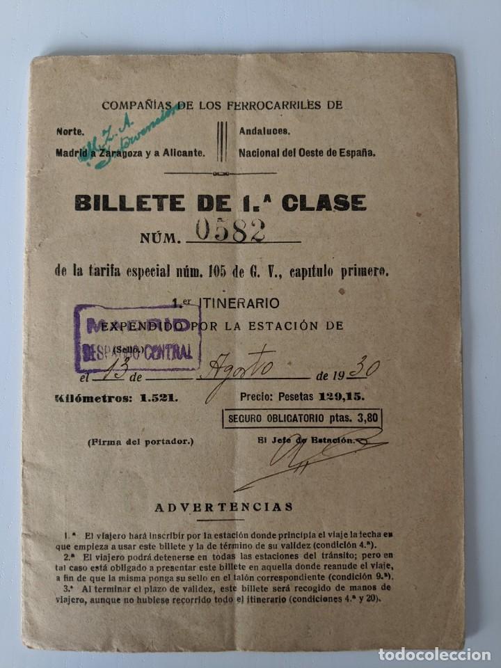 1930 FERROCARRILES MZA NORTE ANDALUCES Y DEL OESTE BILLETE DE 1ªCLASE (Coleccionismo - Billetes de Transporte)