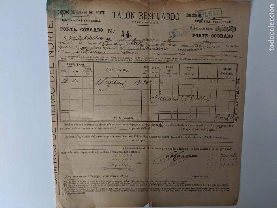 1899 CAMINOS DE HIERRO DEL NORTE - FERROCARRILES - TALON DE RESGUARDO - BILBAO (Coleccionismo - Billetes de Transporte)