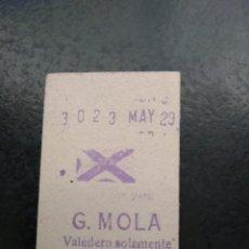 Coleccionismo Billetes de transporte: TICKET METRO MADRID G.MOLA (CAMBIARON EL NOMBRE A LA ESTACIÓN). Lote 194183002