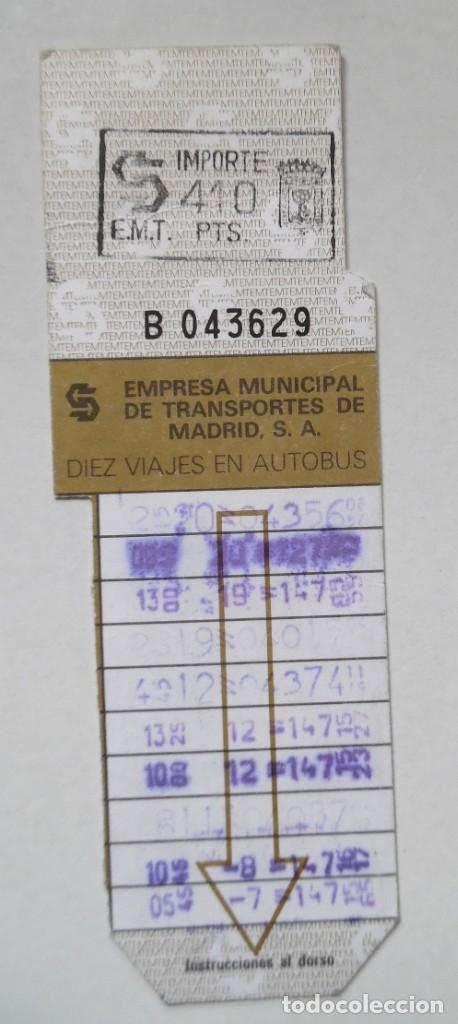 BONOBUS DE 10 VIAJES DE LA EMT DE MADRID. DECENIO DE LOS NOVENTA. (Coleccionismo - Billetes de Transporte)