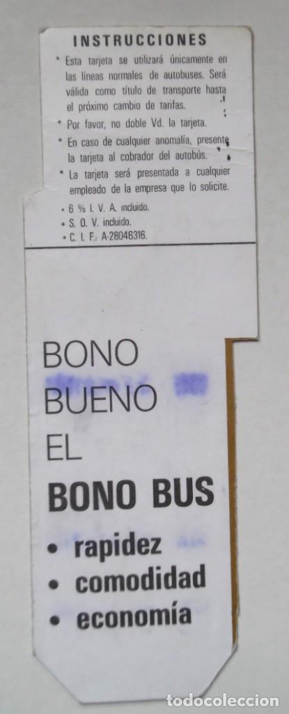 Coleccionismo Billetes de transporte: Bonobus de 10 viajes de la EMT de Madrid. Decenio de los noventa. - Foto 2 - 194294736