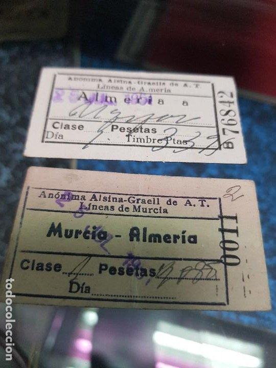 ANTIGUAS BILLETES AUTOBUS MURCIA ALMERIA AÑOS 50 (Coleccionismo - Billetes de Transporte)