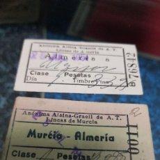 Coleccionismo Billetes de transporte: ANTIGUAS BILLETES AUTOBUS MURCIA ALMERIA AÑOS 50 . Lote 194316918
