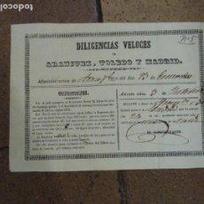 Coleccionismo Billetes de transporte: BILLETE DILIGENCIAS VELOCES. ARANJUEZ TOLEDO, MADRID 1849. Lote 194319717