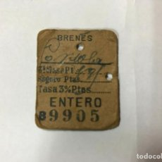 Coleccionismo Billetes de transporte: ANTIGUO BILLETE DE TREN. BRENES ( SEVILLA ) A CÓRDOBA. M.Z.A. - T.G. 1957. Lote 194337391