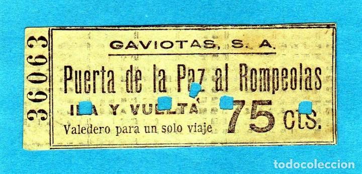 BILLETE DE BARCA DE RECREO DE BARCELONA AÑOS 30 75CTS. IDA Y VUELTA PUERTA DE LA PAZ AL ROMPEOLAS (Coleccionismo - Billetes de Transporte)