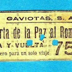 Coleccionismo Billetes de transporte: BILLETE DE BARCA DE RECREO DE BARCELONA AÑOS 30 75CTS. IDA Y VUELTA PUERTA DE LA PAZ AL ROMPEOLAS . Lote 194341090