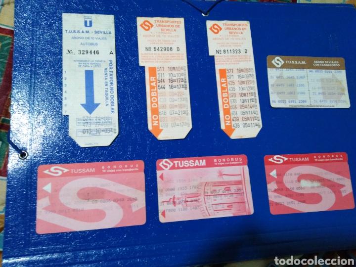 LOTE DE 7 TARJETAS BONOBUS ANTIGUAS DE TUSSAM ( CIUDAD DE SEVILLA CAPITAL ) (Coleccionismo - Billetes de Transporte)