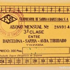 Coleccionismo Billetes de transporte: ABONO MENSUAL 3º CLASE ENTRE BARCELONA SARRIA- AVDA TIBIDABO- 1962. Lote 194404058