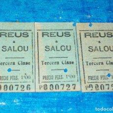 Coleccionismo Billetes de transporte: 3 BILLETES CARRILET REUS A SALOU, CORRELATIVOS 20 AGO 45... Lote 194405300