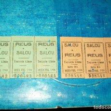 Coleccionismo Billetes de transporte: 3 BILLETES CARRILET REUS A SALOU Y 3 BILLETES SALOU A REUS, CORRELATIVOS 19 AGO 45... Lote 194405427